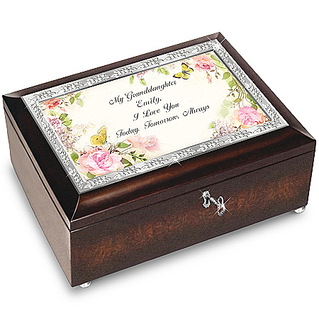 Personalized Floral & Butterfly Music Box for Granddaughter