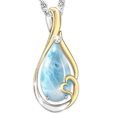 Heaven In My Heart Larimar And Diamond Women's Pendant Necklace