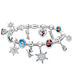 Disney FROZEN Blue Beaded Charm Bracelet Featuring Elsa, Anna, And Let It Go Charms
