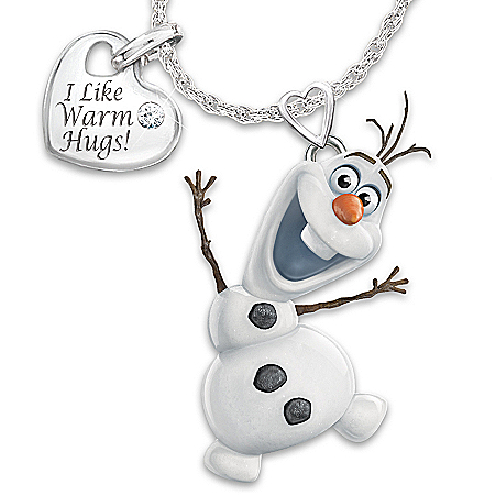 Disney FROZEN In Motion Diamond Pendant Necklace Featuring Olaf The Snowman And Heart Charm