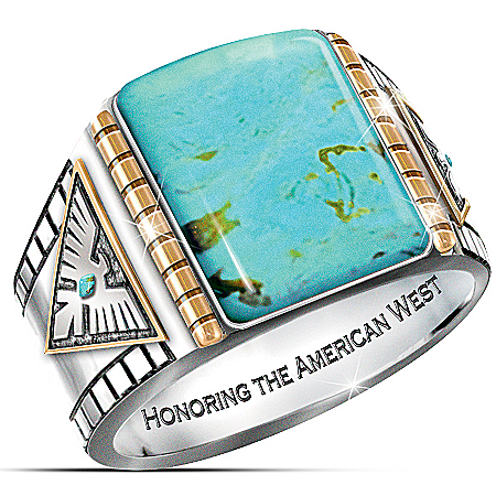 Power Of The West Turquoise Cabochon Thunderbird Men's Ring