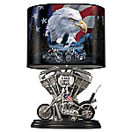 Handcrafted Spirit Of The Road Lamp With Twin Engine Lamp Base