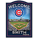 Welcome Sign - Chicago Cubs Personalized Family Welcome Sign