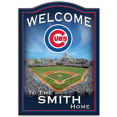 Welcome Sign: Chicago Cubs Personalized Family Welcome Sign