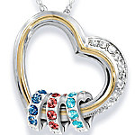 Forever In A Mother's Heart Personalized Heart-Shaped Birthstone Pendant