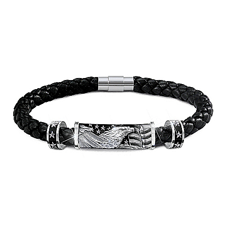 Stainless Steel Star-Spangled Banner Men's Leather Bracelet
