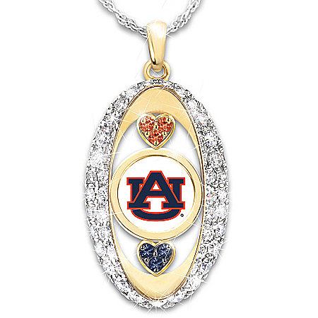 Auburn Tigers Pendant Necklace: Over 30 Swarovski Crystals and 18K Gold Plating
