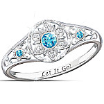 Disney FROZEN Sterling Silver Enchanted Snowflake Women's Ring Featuring Let It Go Engraving