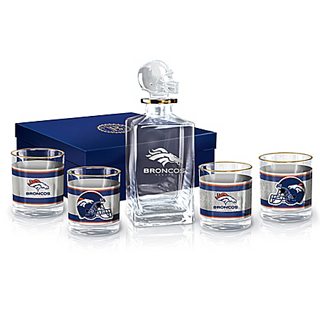 NFL Denver Broncos Five-Piece Decanter Set With Glasses