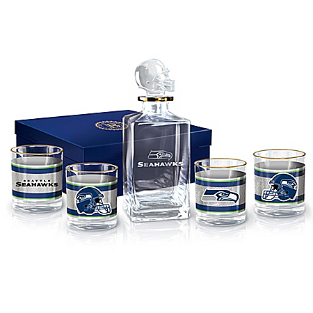 NFL Seattle Seahawks Five-Piece Decanter Set With Glasses