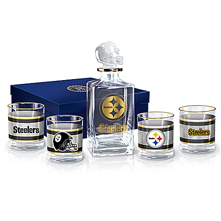 NFL Pittsburgh Steelers Five-Piece Decanter Set With Glasses