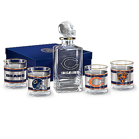 NFL Chicago Bears Five Piece Decanter Set With Glasses
