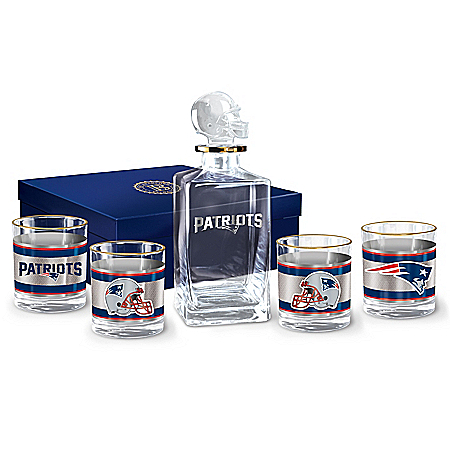 NFL New England Patriots Five Piece Decanter Set With Glasses