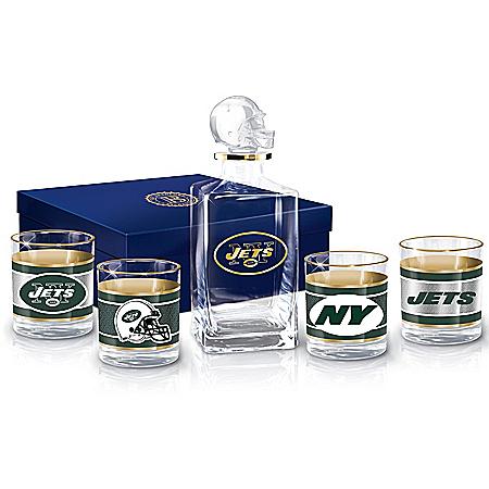 New York Jets NFL Glass Decanter Set