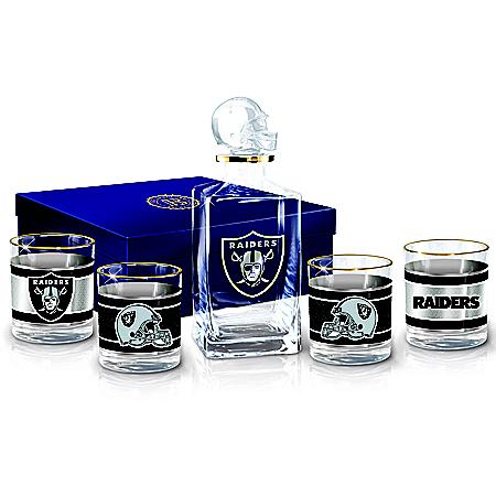 Las Vegas Raiders NFL Glass Decanter Set