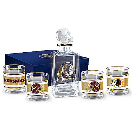Washington Redskins Legacy Personalized NFL Glass Decanter Set