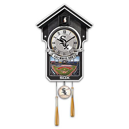 MLB Licensed Chicago White Sox Cuckoo Wall Clock With Bird In Baseball Cap