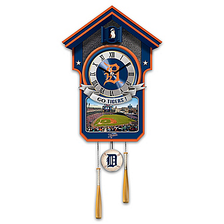 MLB Licensed Detroit Tigers Cuckoo Clock With Bird In Baseball Cap And Team Logo