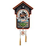 MLB-Licensed Baltimore Orioles Cuckoo Wall Clock Featuring Bird With Baseball Cap