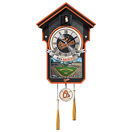 MLB Licensed Baltimore Orioles Cuckoo Wall Clock With Bird In Baseball Cap