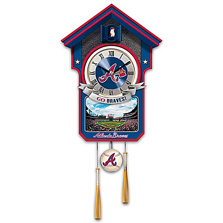 MLB-Licensed Atlanta Braves Cuckoo Wall Clock Featuring Bird With Baseball Cap And Team Logo