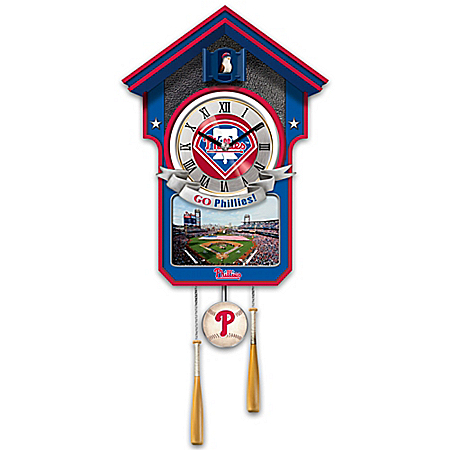 MLB-Licensed Philadelphia Phillies Cuckoo Wall Clock Featuring Bird With Baseball Cap