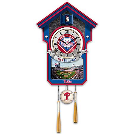MLB- Licensed Philadelphia Phillies Tribute Wall Clock With Bird In Baseball Cap