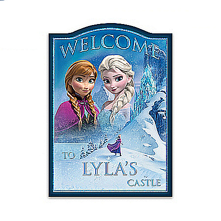Disney FROZEN Personalized Wooden Welcome Sign With Elsa And Anna