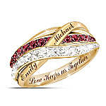 Together In Love Personalized Red And White Diamonds Women's Ring