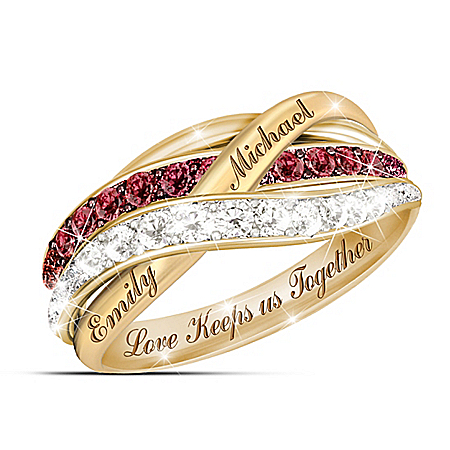 Together In Love Personalized Red And White Diamonds Women's Ring – Personalized Jewelry
