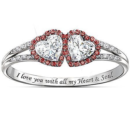 Handcrafted Heart & Soul Topaz And Diamond Ring