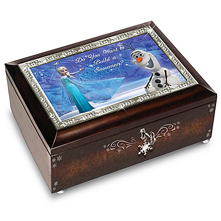 Disney FROZEN Mahogany-Finished Music Box: Plays Do You Want To Build A Snowman