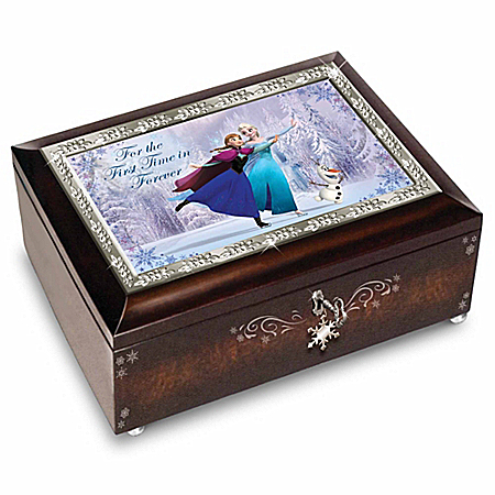 Disney FROZEN Mahogany-Finished Music Box: Plays For The First Time In Forever