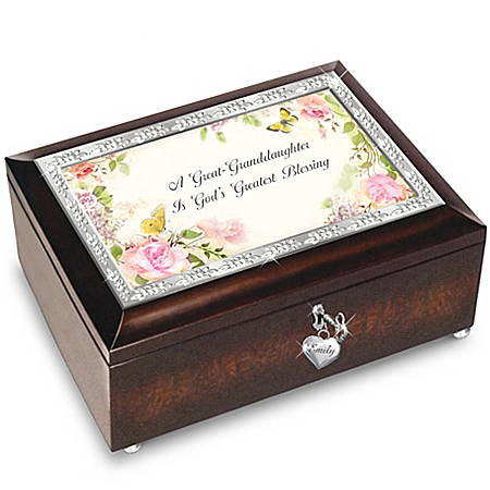 Personalized Floral & Butterfly Music Box for a Great-Granddaughter -  God's Greatest Blessing