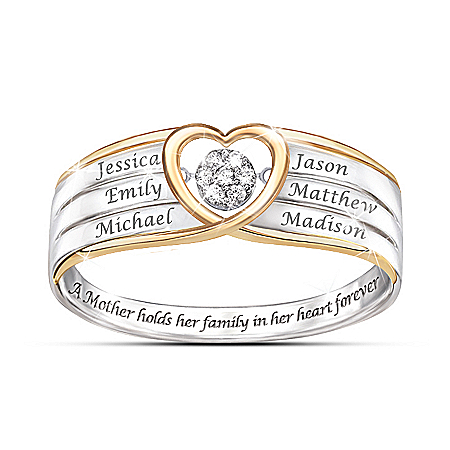 In A Mother's Heart Brilliant Motions Personalized Diamond Ring