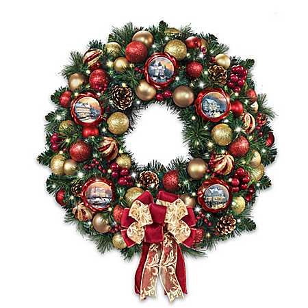 Thomas Kinkade Season Of Splendor Lighted Christmas Wreath