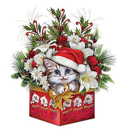 Have Yourself A Meowy Little Christmas Floral Table Centerpiece