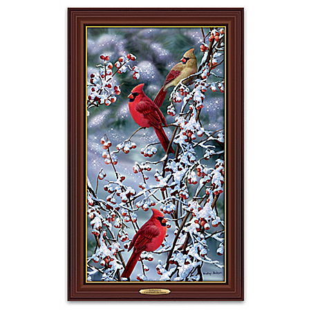Bradley Jackson Cardinals In Snow Illuminated Wall Decor Canvas Print