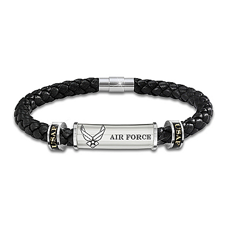 Air Force Personalized Men's Braided Black Leather ID Bracelet – Personalized Jewelry
