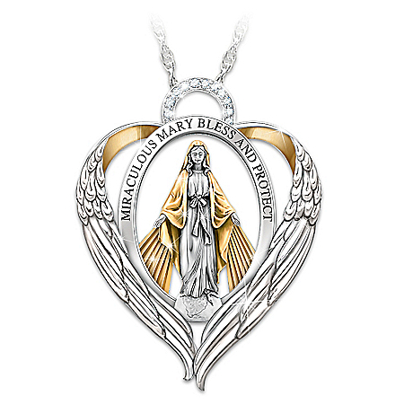 Miraculous Mary Bless And Protect My Granddaughter Personalized Pendant Necklace