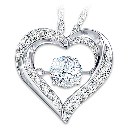Always In My Heart Brilliant Motions Heart-Shaped Daughter Topaz Pendant Necklace from The Bradford Exchange Online Product Image