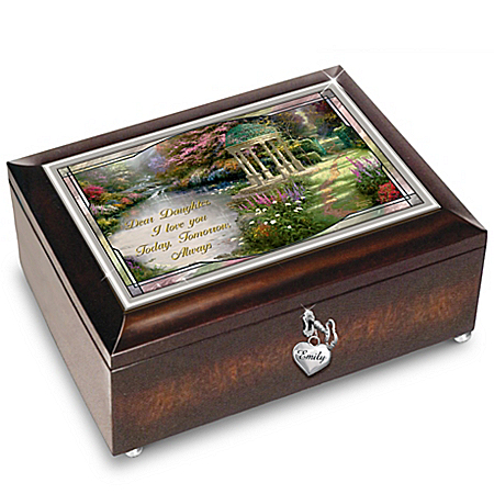 Thomas Kinkade Daughter, I Will Love You Always Personalized Music Box: Lights Up!