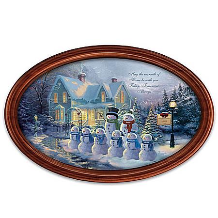 Thomas Kinkade Winter Wonderland Framed Personalized Holiday Masterpiece Plate