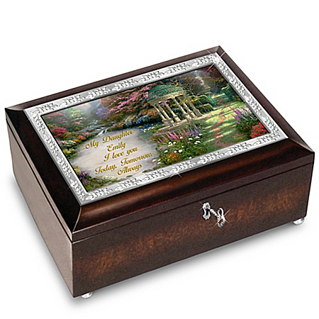 Daughter Music Box with Sentiment Personalized with Name and Thomas Kinkade Art