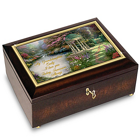 Granddaughter Music Box with Personalized Sentiment and Thomas Kinkade Art