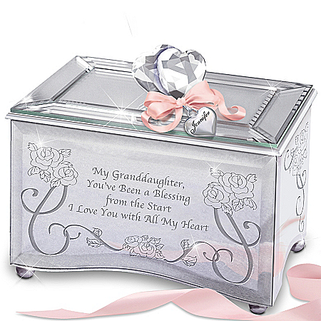 Granddaughter Youu0027re A Blessing Personalized Music Box With Personalized Heart Charm  sc 1 st  Musical Boxes & Granddaughter Music Boxes Aboutintivar.Com