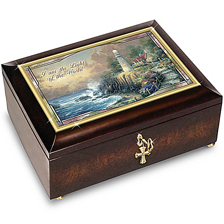 Thomas Kinkade Light Of The World Illuminated Music Box