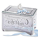 My Granddaughter, I Love You To The Moon Music Box With Poem And Personalized Heart Charm
