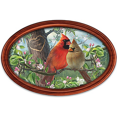 James Hautman Love Birds Cardinal Art Collector Plate Personalized with 2 Names