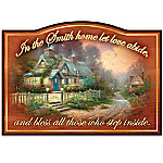 Thomas Kinkade Let Love Abide Personalized Wooden Welcome Sign With Teacup Cottage Artwork